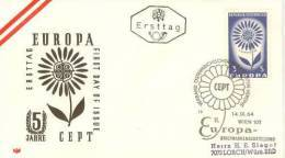 AUSTRIA  EUROPA CEPT 1964  FDC /zx/ - 1964
