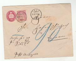 1878 SWITZERLAND 10 C Stamp On 10c UPRATED Postal STATIONERY COVER Thun To Bern - Storia Postale