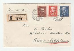 1932 Registered SWITZERLAND COVER  Franked SET Of ST GOTTHARD RAILWAY PIONEER Stamps Kreuzlingen To Bremen GERMANY Train - Suisse