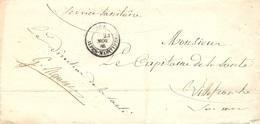 """1886- Lettre De NICE - Cad T18 En Franchise """" Service Sanitaire"""" Pour Villefranche - Marcophilie (Lettres)"""