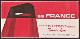 Paquebôt S/S France _Compagnie Générale Transatlantique _ CGT _ French Line _ Plan Miniature / Miniature Deck Plan - Bateaux