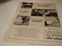 ANCIENNE PUBLICITE VOITURE GIULIEA   ALFA ROMEO  1965 - Publicités