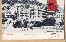 Uk132 GIBRALTAR Military Hospital From N.W ONE PENNY 1906 à DUCROS N.D Nazareth Paris-V.B CUMBO - Gibraltar