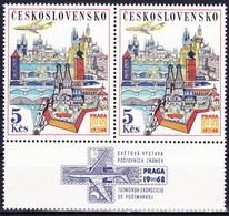 Tchécoslovaquie 1967 Mi 1744 Zf (Yv PA 67 Paire Avec Vignette), (MNH)** - Luftpost