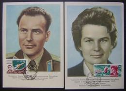 1961 Et 1963, Lot De Deux Cartes Maximum Cosmonautes Russes Valentina Terechkova Et Guerman Titov. - Tarjetas Máxima