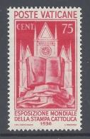 VATICANO 1936 ESPOSIZIONE MONDIALE 75c  Nº 51 - Neufs
