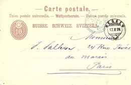 1884- C P E P  10 C De MEGGEN   Pour Paris - 1882-1906 Armoiries, Helvetia Debout & UPU