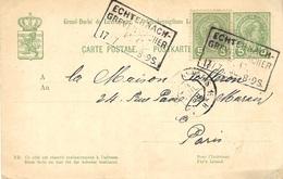 1899- C P E  5 C +  Compl. 5 C   Oblit. Cad  AMB.  ECHTERNACH_ / GREVENMACHER Pour Paris - 1895 Adolphe Right-hand Side