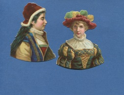 Deux Jolie Chromos Découpis Légèrement Gaufrés Femme Moyen Age ? 8 Cm Hauteur - Victorian Die-cuts