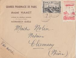 Enveloppe    MAROC   Oblitération   MARRAKECH   1948 - Maroc (1891-1956)
