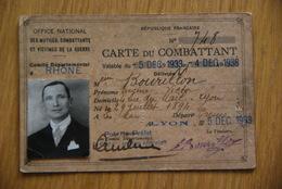 Carte Nominative - Carte De Combattant Lyon Rhone 1933 - Documents Historiques