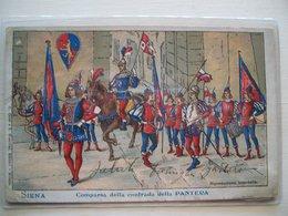 1909 - Siena - Comparsa Della Contrada Della Pantera - Palio Costumi Soldati Stemma - Cartolina Originale - Folklore - Costumi