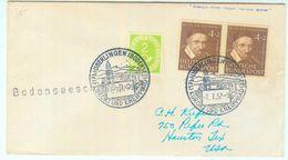 Nr. 143 Paar MIF Mit Nr. 123 Drucksache Aus Überlingen (Sonderstempel) In Die USA - Brieven En Documenten