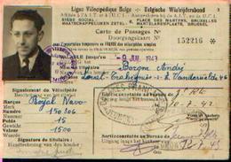 Ligue Vélocipédique Belge – Carte De Passage Pour L'importation Temporaire En France Des Vélocipèdes Simples (09/07/1943 - Cycling