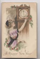HORLOGE - Minuit - Nouvel An - A Happy New Year - Dec 1912 - ILLUSTRATTION SIGNÉE - Nouvel An