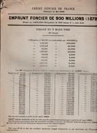 Emprunt Foncier 900 Millions / Tirage Mars 1883 / 28 Pages / Obligations De 500 Francs - Azioni & Titoli