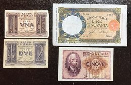 50 LIRE LUPA CAPITOLINA FASCIO ROMA 29 12 1939 + 1  + 2 + 5 Lire Impero LOTTO 2186 - 50 Lire