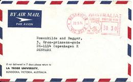 Australia Air Mail Cover With Meter Cancel Sent To Denmark Reservoir 20-9-1974 - Posta Aerea