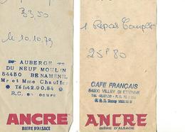 Lot De 2 Facturettes BIERE ANCRE/ 54 BENAMENIL Neuf-Moulin / 54 VILLEY ST ETIENNE Café Français - France