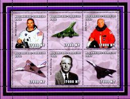 MOZAMBICO MOCAMBIQUE 2002 ASTRONAUTA JOHN GLENN CONCORDE BF X 6 Valori MNH ** - Space