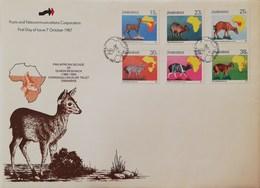 Zimbabwe 1987 Pan African Of Duiker  Research F.D.C, - Zimbabwe (1980-...)