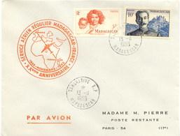 Aérophilatélie-20è Anniversaire Service Aérien Régulier MADAGASCAR-FRANCE-cachet De Tananarive Du 13.11.55 - Luchtpost