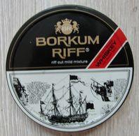 AC - BORKUM RIFF FLOAVORED BOURBON WHISKEY FOR EXQUISITE TASTE TOBACCO EMPTY TIN BOX FOR COLLECTION - Contenitori Di Tabacco (vuoti)
