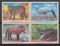 Ei_ UN UNO Wien - Mi.Nr. 222 -  225 - Postfrisch MNH - Kleinbogen - Tiere Animals - Blocs-feuillets