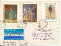 Romania Cover Sent To Czechoslovakia 23-5-1992 With A Lot Of Stamps On Front And Backside Of The Cover - 1948-.... Républiques