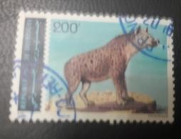 DJIBOUTI 1993 1995 MICHEL 614HYENE TACHETEE HYENA - A LITTLE CUT - UN PEU DECHIRE - USED OBLITERE CANCELED OBL U O RARE - Djibouti (1977-...)