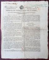 Journal Du Département De La Corse . 31 Déc. 1825 . Panique Au Mariage De L'Infante De Lucques à Dresde . Timbre Royal . - 1800 - 1849
