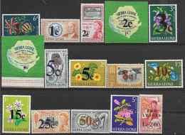 1964-65  SIERRA LEONE 257-71+ PA  27-34 ** Fleurs, Diamant, Trompette, Kennedy, Surchargés - Sierra Leone (1961-...)