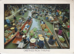 Thailand Floating Market Damnernsaduak, Circulated Postcard - Thailand