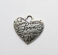 Pendentif Métal Argenté Coeur Gravé Love Courage Treasure Peace... - Other