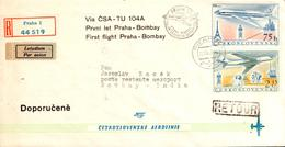 Enveloppe 1er Vol CSA Prague Bombay 22/08/59 TU 104A - Avions