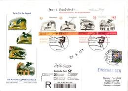 """BRD Großformatiger Schmuck-FDC """"175. Geburtstag Von Wilhelm Busch"""", Mi. 2606/09 (Block 71) ZF ESST BONN 14.6.2007 - [7] Federal Republic"""