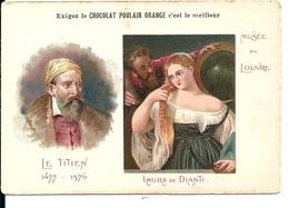 """Chromos Chocolat Poulain Orange Série Les Peintres Célèbres """"Le Titien Laura De Dianti Musée Du Louvre"""" N°8 - Poulain"""