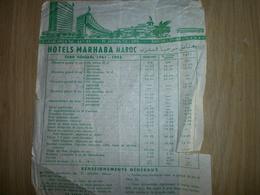 Tarif   HOTELS MARHABA   MAROC - Factures & Documents Commerciaux