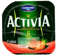 "Opercule Cover Yaourt Yogurt "" Danone "" ACTIVIA Fraise Strawberry Old Design Yoghurt Yoghourt Yahourt Yogourt - Opercules De Lait"