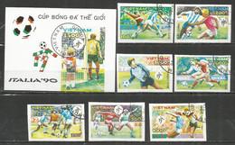 Vietnam 1990 Used Stamps Set + Block Soccer Imperf. - Viêt-Nam