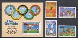 Olympics 1988 - Soccer - Basketball - GAMBIA - S/S+Set MNH - Zomer 1988: Seoel