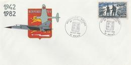 REIMS : T. à D. Illustré Commémorant Le Souvenir De L'escadrille NORMANDIE -NIEMEN ( 1942 - 1982) / Env. Illustrée. - Marcofilia (sobres)