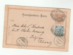 1896 ST POLTEN  To BOZINGEN  UPRATED Postal STATIONERY CARD  Austria Stamps To Switzerland Cover - Covers & Documents