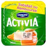 """Opercule Cover Yaourt Yogurt """" Danone """" ACTIVIA Miel Honey Yoghurt Yoghourt Yahourt Yogourt Satisfait Ou Remboursé - Opercules De Lait"""