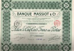 LOT DE  5 ACTIONS DE 500 FRS BANQUE MASSIOT -  ANNEE 1921 - Banca & Assicurazione
