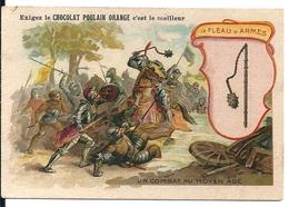 """Chromos Chocolat Poulain Orange Série Armes à Travers Les âges N°14 """"Le Fléau D'Armes"""" - Poulain"""