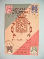 Carte Maximum - Card France  1945  Type Chaînes Brisées  N° 670 à 673   Cachet  Auxerre Yonne - Libération D'Auxerre - Cartes-Maximum
