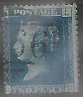 GB  1858   Sc#29  2p  Used  Perf 14  (plate 9)  Wmk 20   2016 Scott Value $12.50 - 1840-1901 (Viktoria)