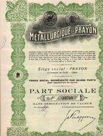 PART SOCIALE - METALLURGIQUE  DE PRAYON - COMMUNE DE FORET -LIEGE -1928 - Industrie