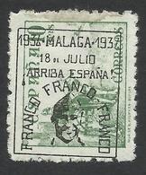 Spain, Malaga 10 C. 1937, Mi # 26, MH, Black Overprint - Emissions Nationalistes